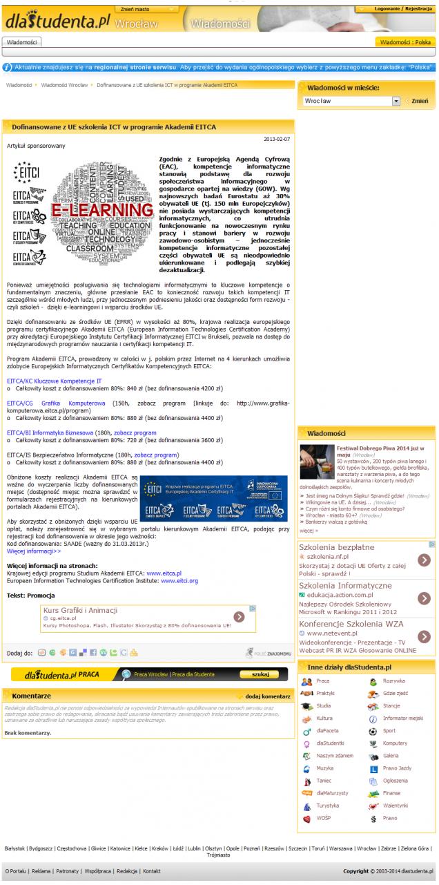 Dofinansowane z UE szkolenia ICT w programie Akademii EITCA