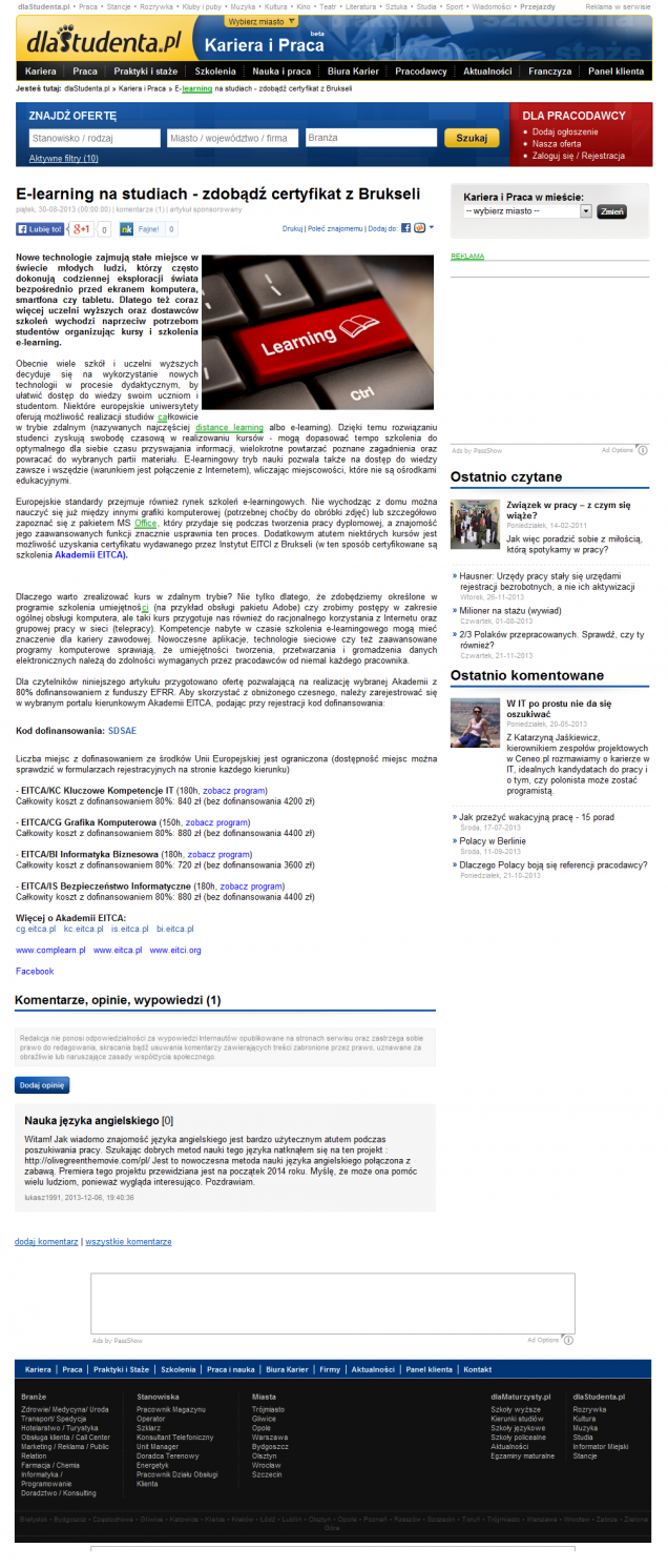 E-learning na studiach - zdobądź certyfikat z Brukseli