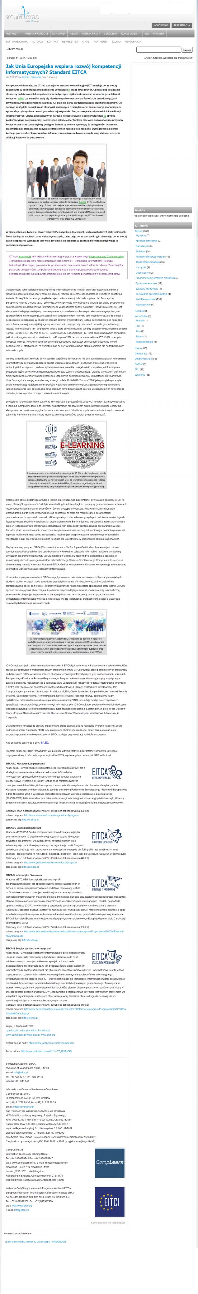 Jak Unia Europejska wspiera rozwój kompetencji informatycznych? Standard EITCA