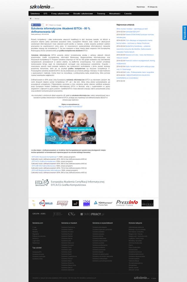 Szkolenia informatyczne Akademii EITCA - 80% dofinansowania UE